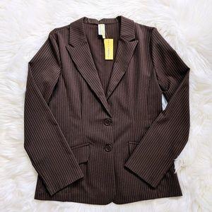 NWT Brown Pinstripe Fitted Blazer Jacket XL Junior